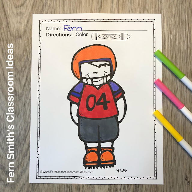 """Fall Football Coloring Pages Four coloring pages for some Fall Football Fun for your classroom! Your students can pick any colors for their uniforms, footballs and pom-poms! Love the Gators, Orange and Blue all the way! Are they a big FSU fans, Garnet and Gold baby! :) This football coloring pages freebies makes a terrific bulletin board with the theme """"Our Team is Ready for a New School Year!"""" Your students and parents will love it!"""