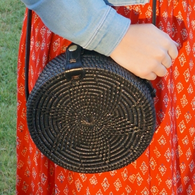 Amerii medium sling rattan bag in black | away from blue