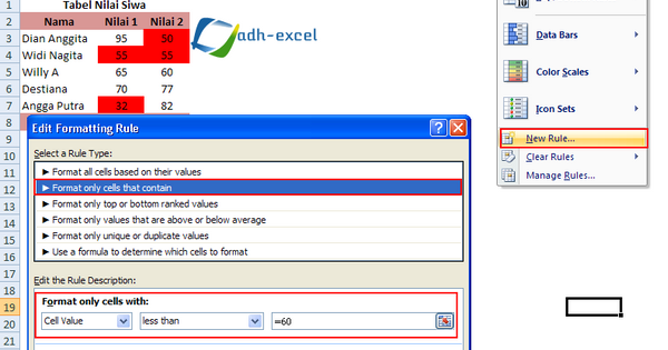 Conditional Formatting, Cara Mewarnai Cell/Range Excel ...