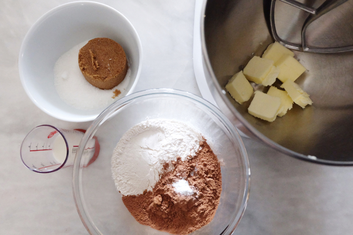 prepping chocolate wafer ingredients