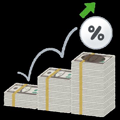 上がる金利のイラスト(ドル)
