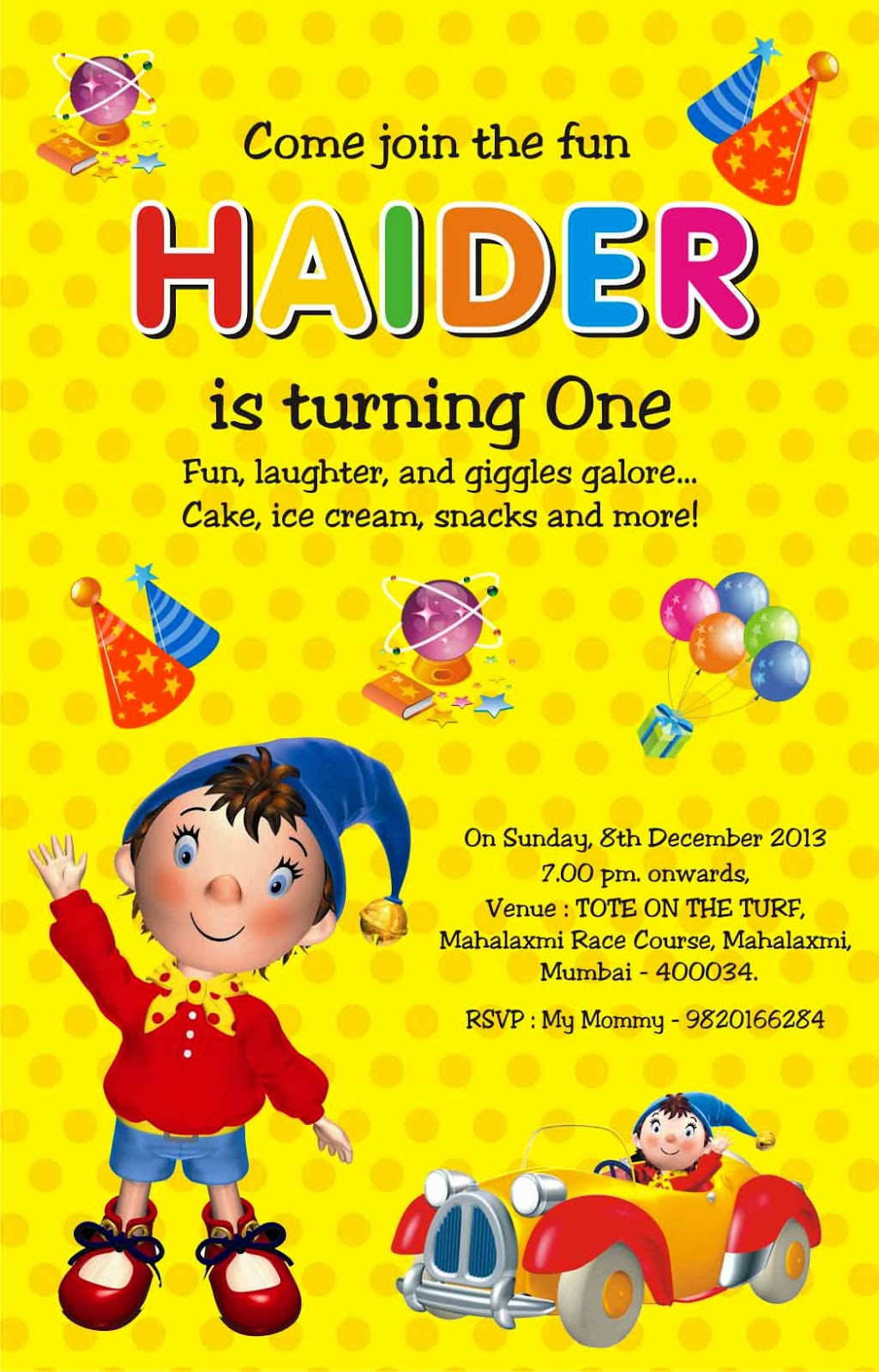 birthday party invitation card invite personalised return