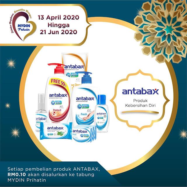 Antabax Ganding Bahu bersama MYDIN Kutip Dana Amal  RM0.10 dari hasil jualan produk Antabax di cawangan MYDIN seluruh negara  akan disalurkan ke organisasi terpilih