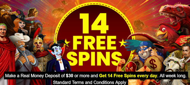 Planet7 casino 14 daily free spins with just one $30 deposit weekly!