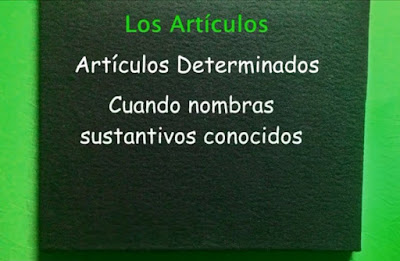 cuadro con Los Artículos en Español