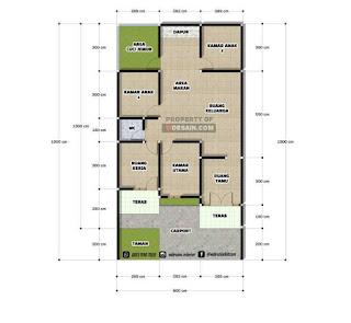 denah rumah 8x15 dengan 3 kamar tidur - desain rumah minimalis