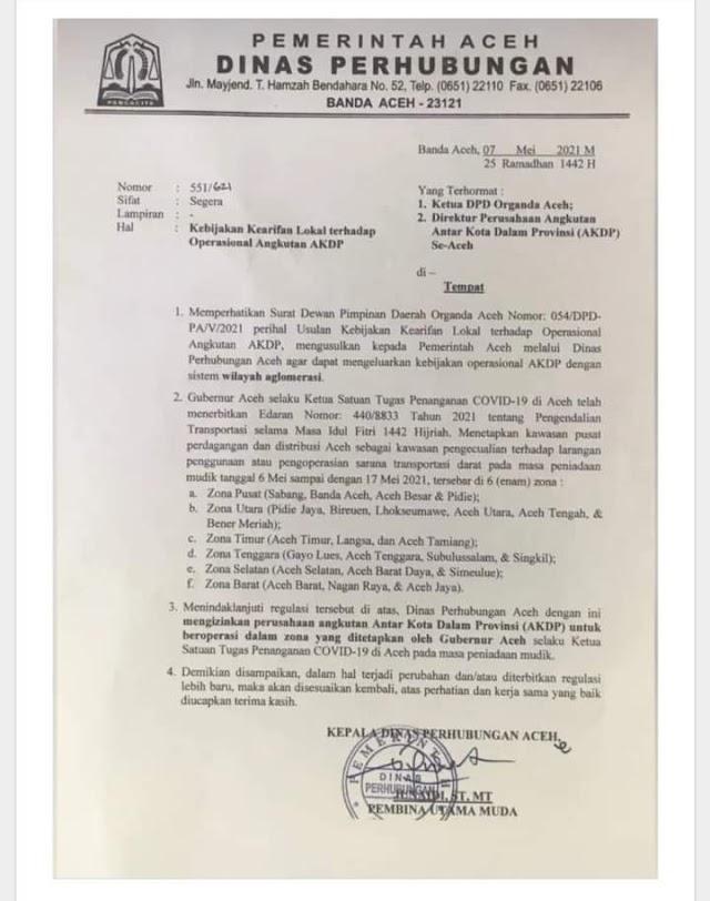 Pemerintah Aceh Izinkan Angkutan Umum Antar Kota Beroperasi Kembali
