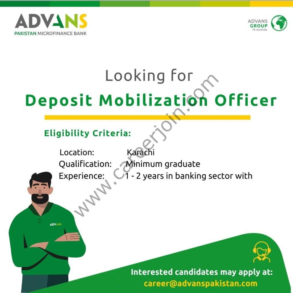 Advans Pakistan Microfinance Bank Ltd Jobs Deposit Mobilization Officer