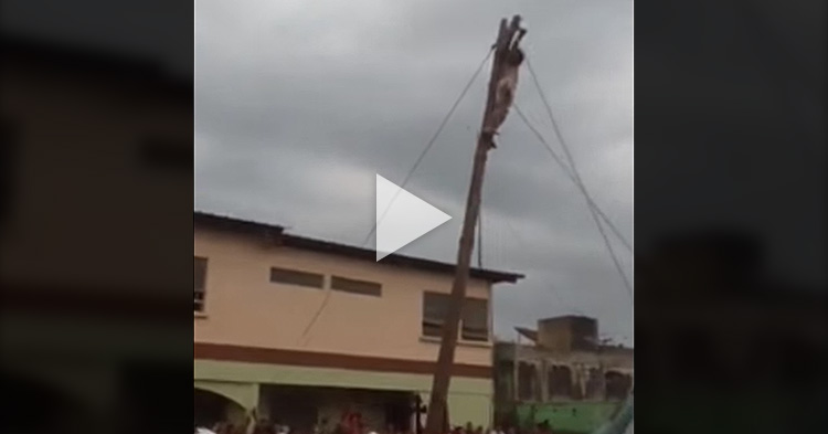 Senakulo actor reenacts Jesus' crucifixion falls off the high cross