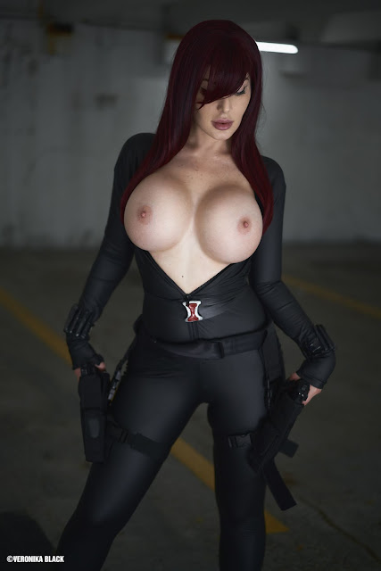 Veronika Black as sexy black widow