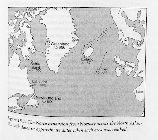 Page 371. Figure 18.1. The Norse expansion from Norway across the North Atlantic, with dates or approximate dates, when each area was reached.