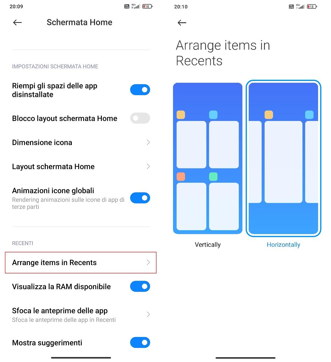 Come avere la sezione Recenti con scorrimento orizzontale su smartphone Xiaomi