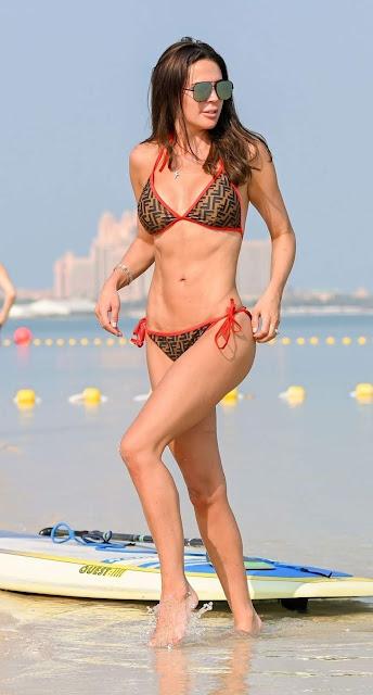 Danielle Lloyd Clicked in a Bikini – Paddle Boarding in the Sea in Dubai 1 Dec-2019