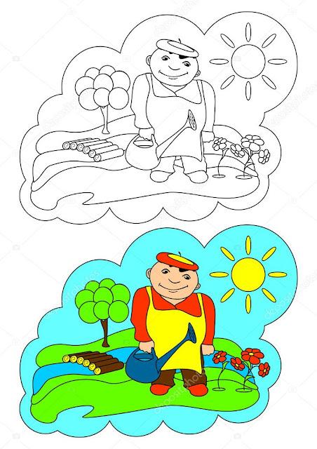 Hombre que  riega las hortalizas colorear