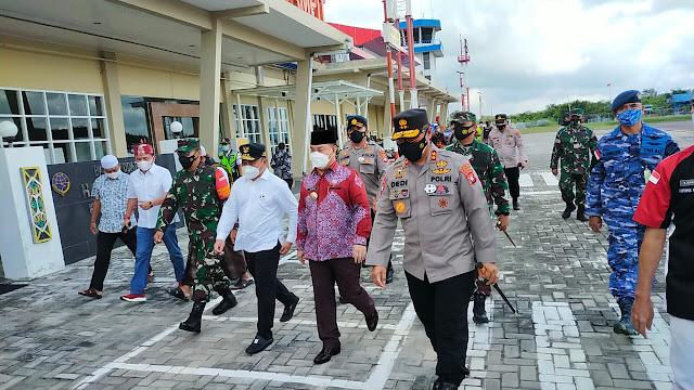 Pengamanan Kedatangan Gubernur Beserta Anggota Forkopimda Provinsi Kalteng Di Bandara H. Asan Sampit