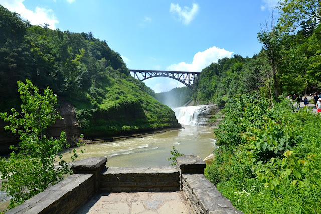 Upper Falls waterfall and train bridge Letchworth State Park