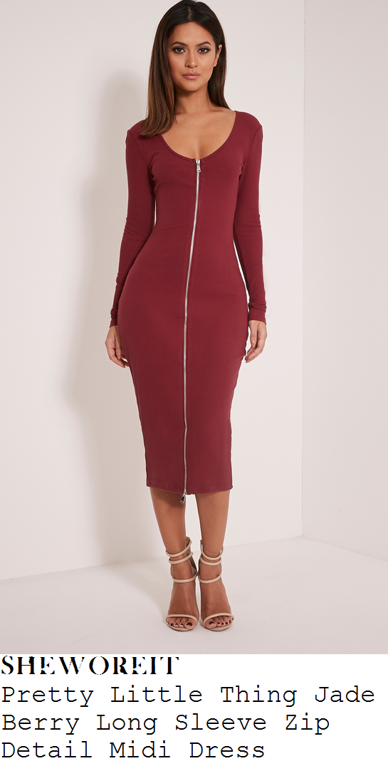 chloe-sims-pretty-little-thing-jade-berry-long-sleeve-zip-front-detail-midi-dress