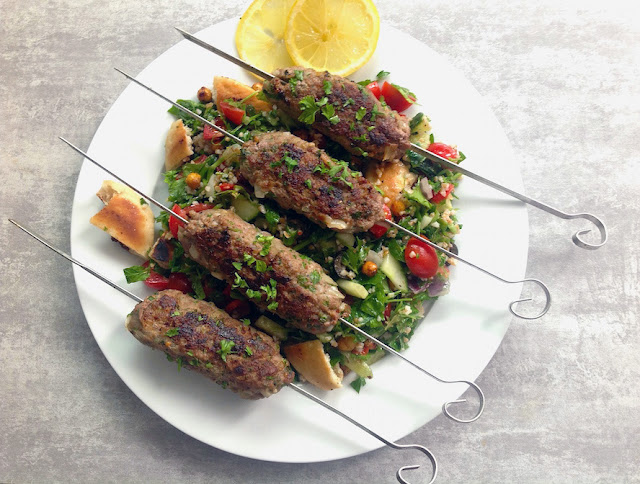 Grilled Lamb Kofta Kebabs with Tabbouleh Salad