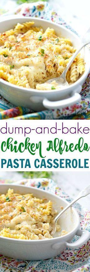 Dump and Bake Chicken Alfredo Pasta Casserole