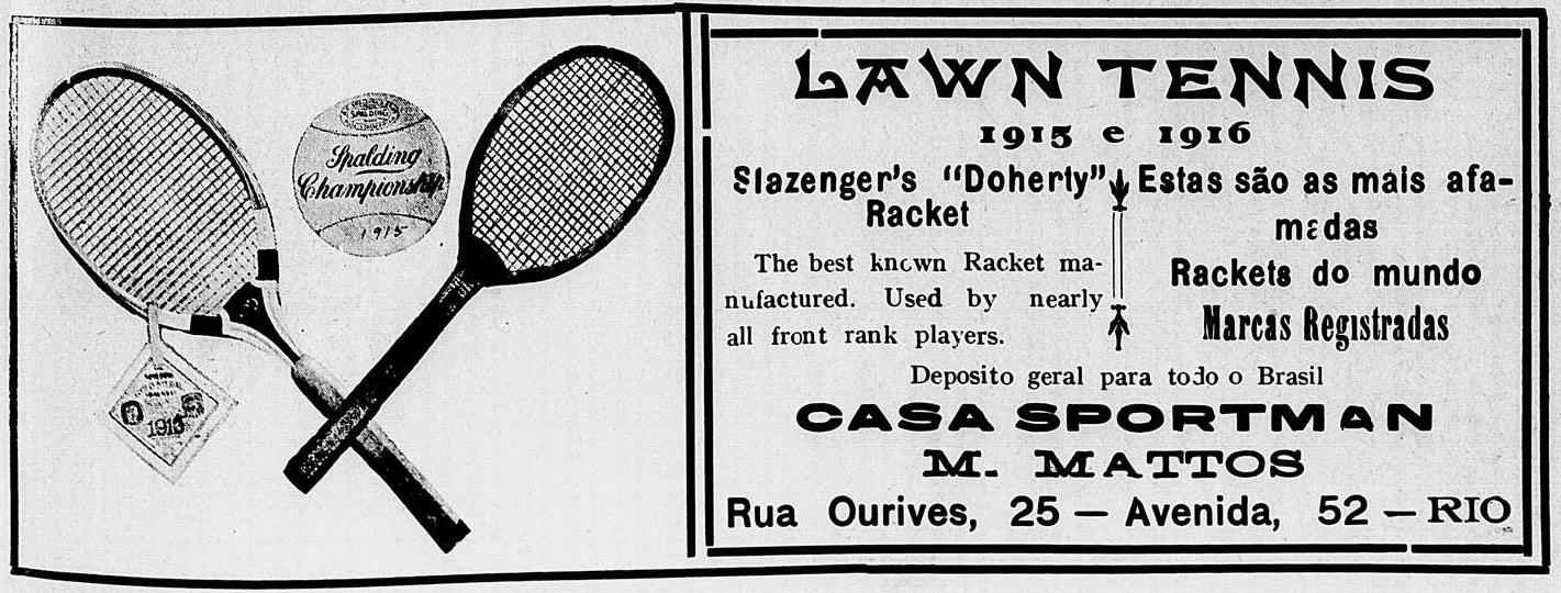 Propaganda de 1915 promovia a venda de raquete de tênis