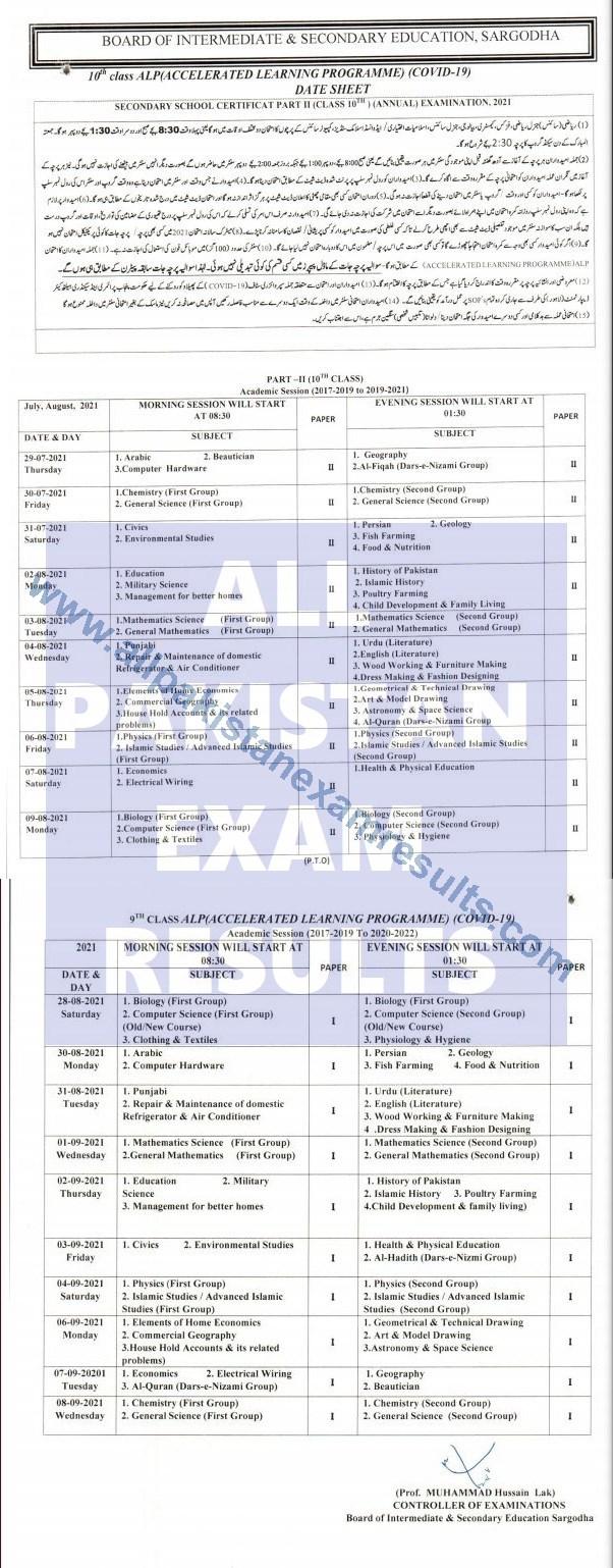 Date Sheet 2021 Sargodha Board Class 9 & 10 Annual Exam