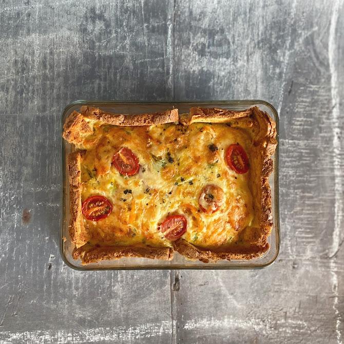 Cheese, Tomato & Spring Onion Quiche - with a bread crust