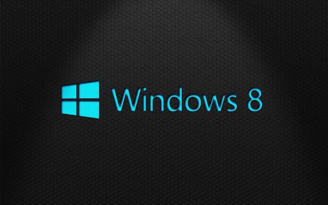 Mooie zwarte Windows 8 wallpaper met lichtblauwe letters