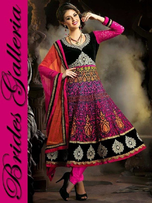 New Fashion Girl Brides Galleria Punjabi Suits 2013 For Women Designer Indian Frock Collection Embroidered Punjabi Suits