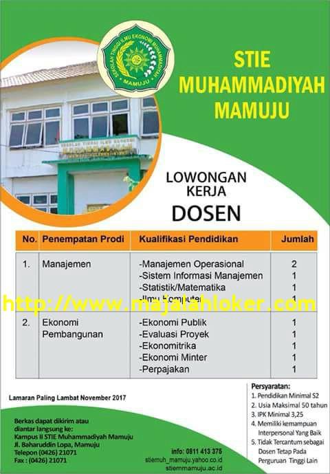 Lowongan Dosen Manajemen & Ekonomi STIE Muhammadiyah Mamuju