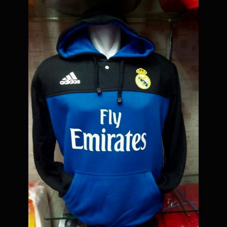Jual jaket Hoodie Real Madrid hitam biru terbaru