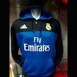 Jaket Hoodie Real Madrid Warna Hitam Biru