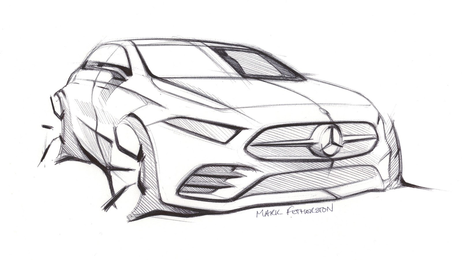 Mercedes A-Class 2018 W177 sketch by Mark Fetherston