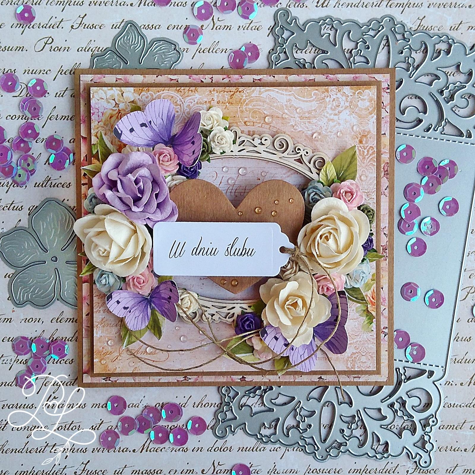 Bogato zdobiona ślubna kartka dla Aldony i Krzysztofa
