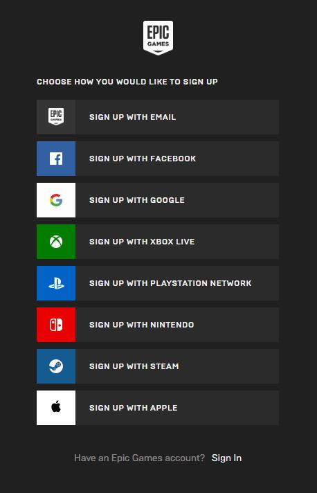 انشاء حساب epic games