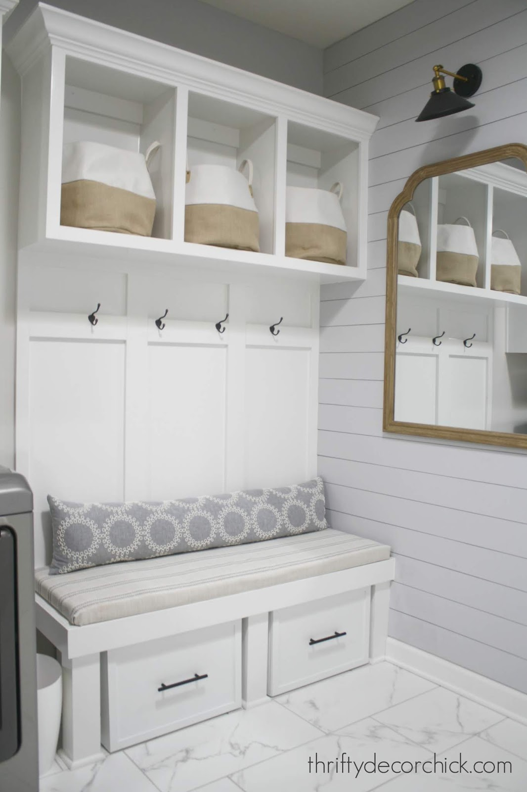 Mud room bench with storage for gear and shoes