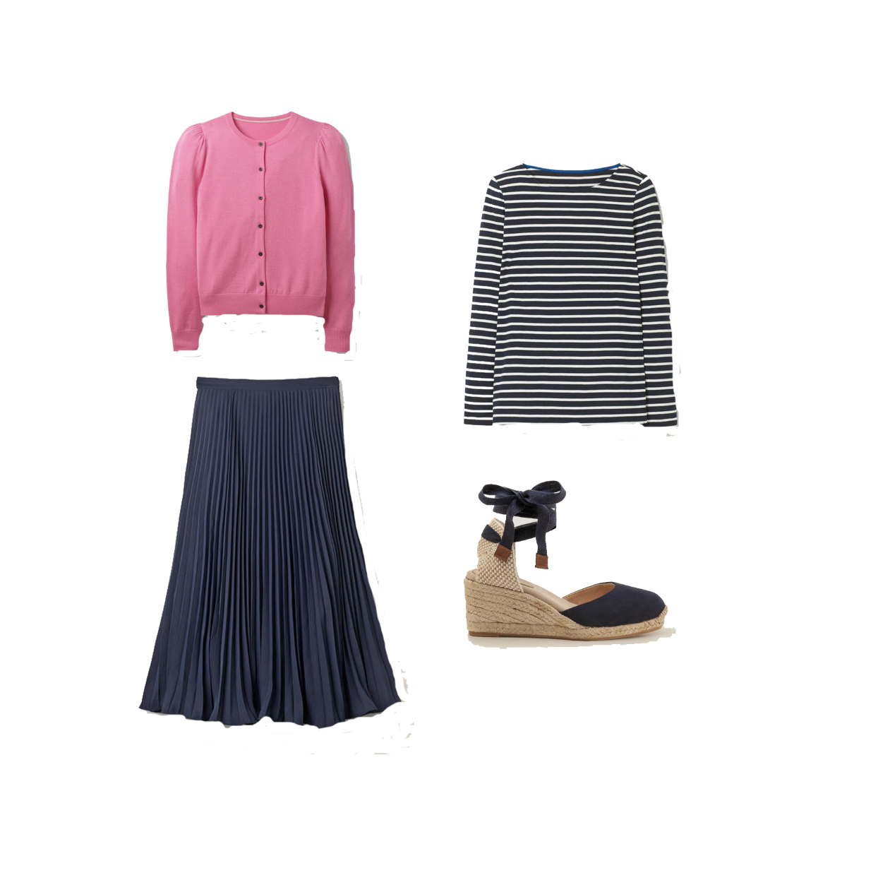my midlife fashion, boden long sleeve breton cotton top, boden Stowe merino cardigan, boden Cassie wedge espadrilles, boden pleated midi skirt
