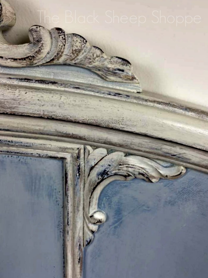 Decorative trim on antique bed