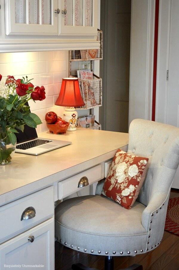 Cottage Style Kitchen Desk area