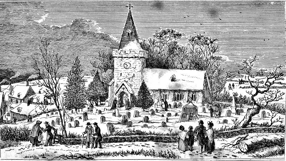 English Country Church On Christmas Morning
