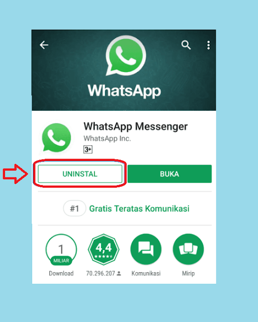 Uninstall WhatsApp Leawt Google Playstore