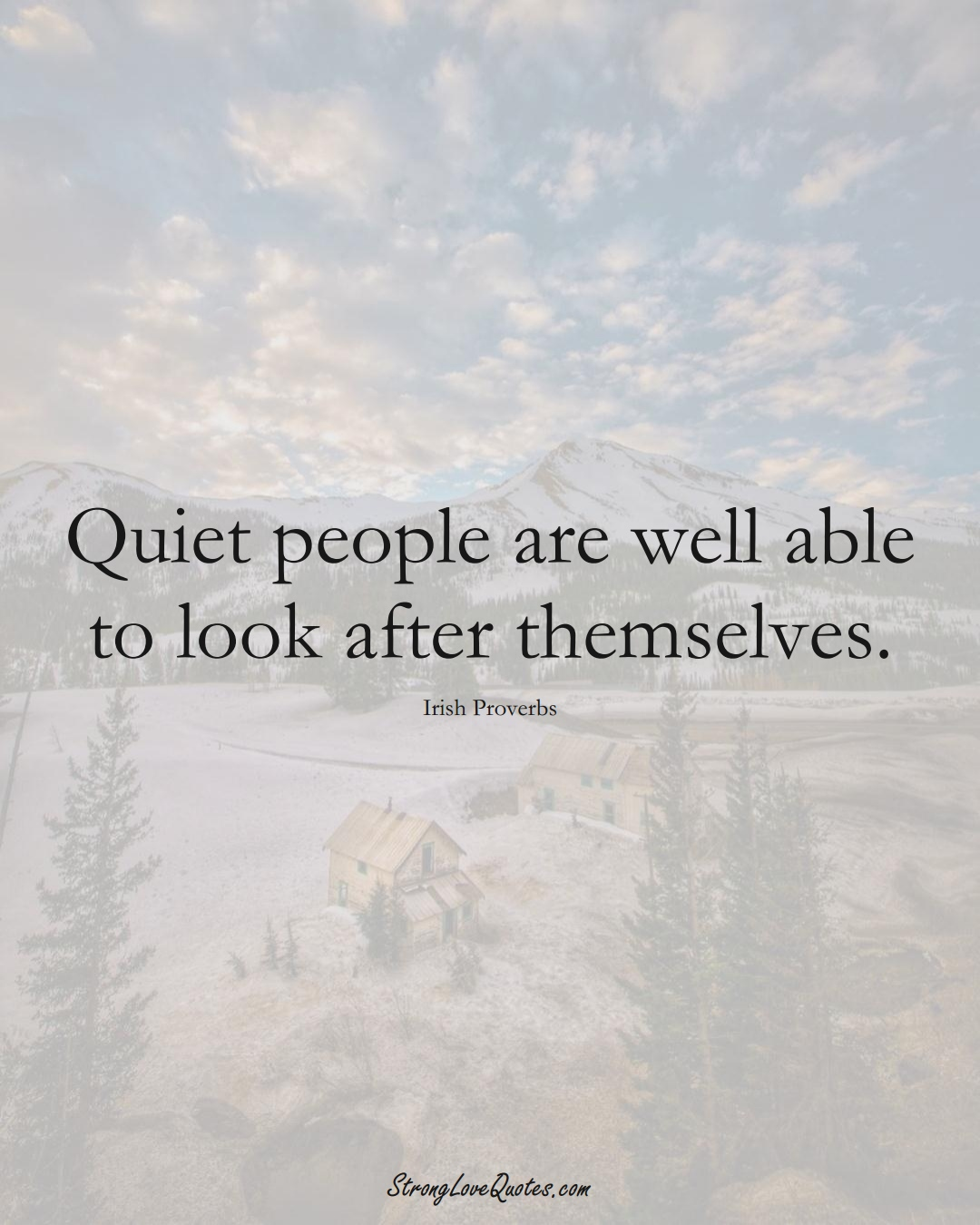 Quiet people are well able to look after themselves. (Irish Sayings);  #EuropeanSayings