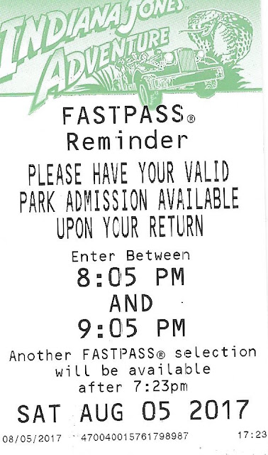 Indiana Jones Adventure Fastpass August 5 2017