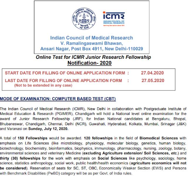 ICMR JRF Recruitment 2020