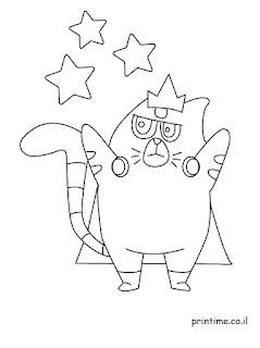 דפי  צביעה לי בי לי לילדים מאו מאו החתול