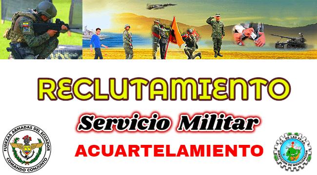 La dirección de Movilización y el comando de las fuerzas armadas inician un nuevo proceso de acuartelamiento militar e invita a participar a todos los jóvenes ecuatorianos hombre y mujeres de entre 18 y 22 años cumplidos a la fecha de ingreso.