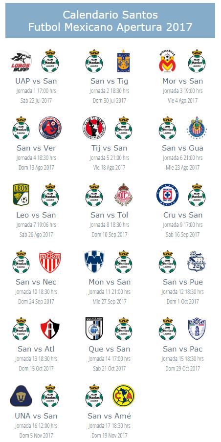 Calendario de Santos Torreon apertura 2017 futbol mexicano