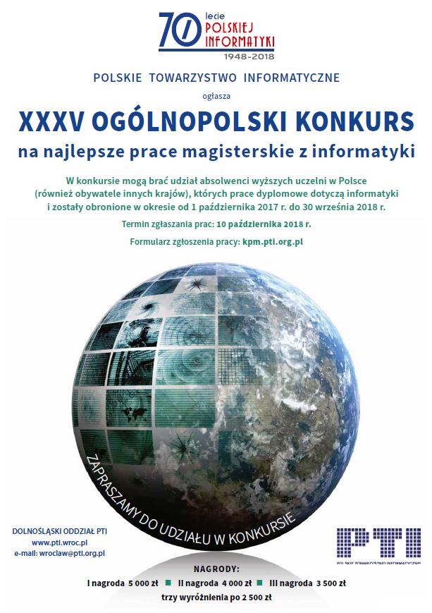 XXXV Ogólnopolski Konkurs na najlepsze prace magisterskie z informatyki - plakat reklamowy