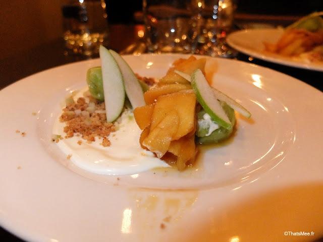 dessert pommes caramelisees sorbet celerie rave crumble resto Richer paris 9eme