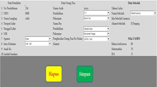 Aplikasi Pembuatan Formulir Penerimaan Siswa Baru Excel