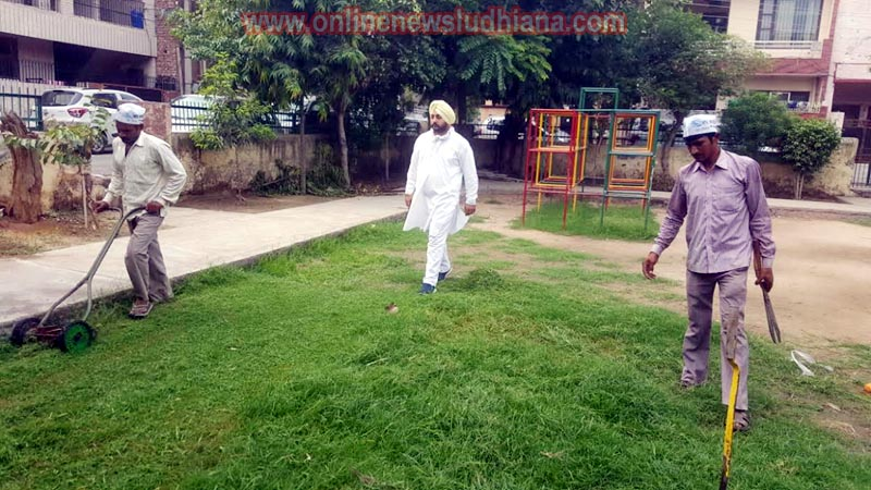 Men cleaning park during cleanliness drive in ward 48 by AAP volunteers